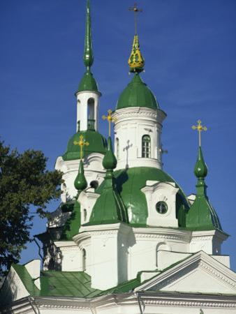 Russian Orthodox Church with Green Painted Panels on Roof and Spires, Parnu, Estonia, Baltic States