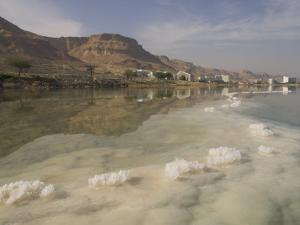 Sea and Salt Formations with Hotels and Desert Cliffs Beyond, Dead Sea, Israel, Middle East by Simanor Eitan