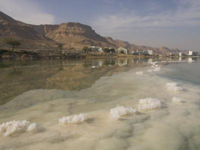Sea and Salt Formations with Hotels and Desert Cliffs Beyond, Dead Sea, Israel, Middle East