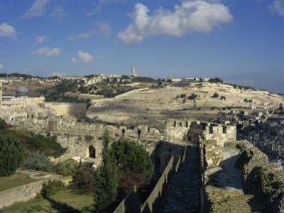 View of Mount of Olives, Jerusalem, Israel, Middle East by Simanor Eitan