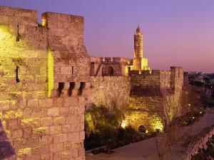Walls and the Citadel of David in the Old City of Jerusalem, Israel, Middle East by Simanor Eitan