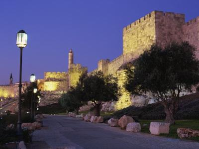 Walls Promenade and Tower of David at Dusk, Jerusalem, Israel, Middle East