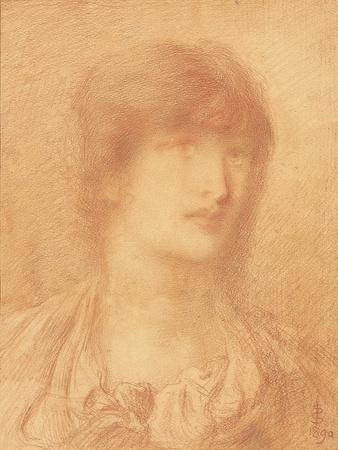 Head of a Young Girl, 1890 (Red Chalk on Buff Paper)
