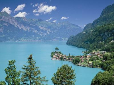 View Over Lake Brienz to Iseltwald, Switzerland