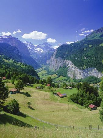 View Over Lauterbrunnen from Wengen, Bernese Oberland, Swiss Alps, Switzerland, Europe