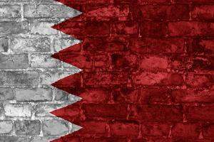 Bahrain Flag Graphic On Wall by simon johnsen