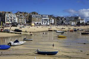 Boats in St. Ives Harbour at Low Tide, St. Ives, Cornwall, England, United Kingdom, Europe by Simon Montgomery