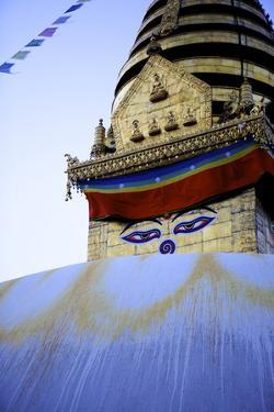 Dusk at the Buddhist Stupa of Swayambu (Monkey Temple) (Swayambhunath) by Simon Montgomery