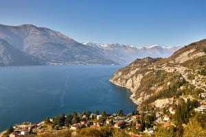High angle view of Lake Como from Castle Vezio with Varenna and Gittana, Lombardy, Italy by Simon Montgomery
