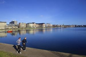Joggers Along Sortedams So (Sortedams Lake), Copenhagen, Denmark, Scandinavia, Europe by Simon Montgomery
