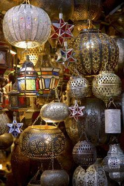 Lanterns for Sale in the Souk, Marrakesh, Morocco, North Africa, Africa by Simon Montgomery