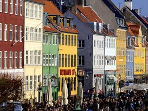 Nyhavn (New Harbour), Busy Restaurant and Bar Area, Copenhagen, Denmark, Scandinavia, Europe by Simon Montgomery