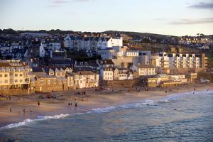 Overlooking Porthmeor Beach in St. Ives at Sunset, Cornwall, England, United Kingdom, Europe by Simon Montgomery