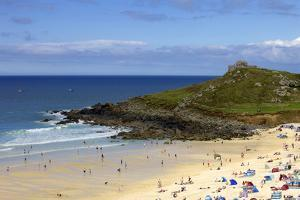 Overlooking Porthmeor Beach on a Sunny Summer Day in St. Ives, Cornwall, England by Simon Montgomery