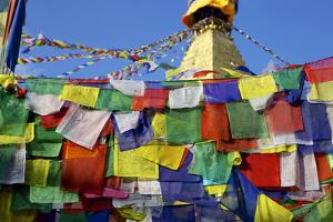 Prayer Flags in Front of Boudha (Bodhnath) (Boudhanath) Tibetan Stupa in Kathmandu by Simon Montgomery