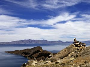 Rocks and Lake, Bahia Kona, Isla del Sol, Lake Titicaca, Bolivia, South America by Simon Montgomery