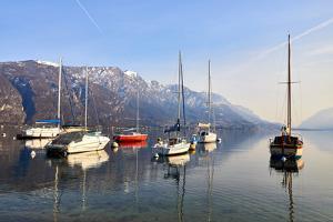 Sailing boats in the harbour at Borgo di Pescallo in Bellagio, Lake Como, Lombardy, Italy by Simon Montgomery