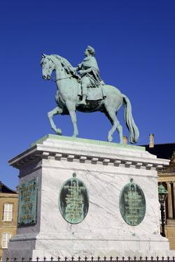Statue of King Frederick V in Amalienborg Palace Courtyard in Copenhagen, Denmark, Scandinavia by Simon Montgomery