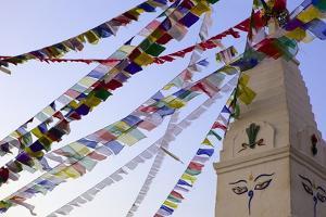 Stupa and Prayer Flags in the Whochen Thokjay Choyaling Monastery, Swayambhu, Nepal, Asia by Simon Montgomery