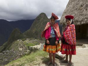 Traditionally Dressed Children by Machu Picchu, UNESCO World Heritage Site, Vilcabamba Mtns, Peru by Simon Montgomery