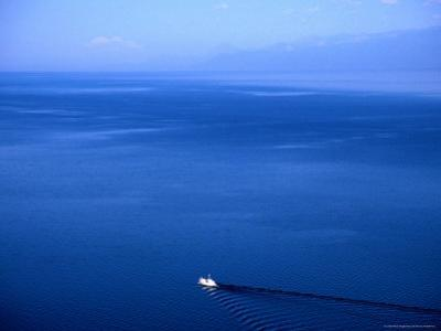 Aerial View of a Boat on Lake Baikal