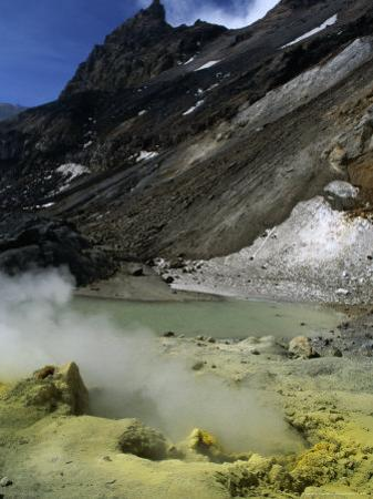 Sulfurous Geysers in the Crater of Mt. Mutnovskaya, Kamchata, Russia