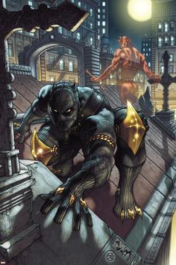 Black Panther: The Man Without Fear No.513 Cover: Black Panther and Daredevil Crouching by Simone Bianchi