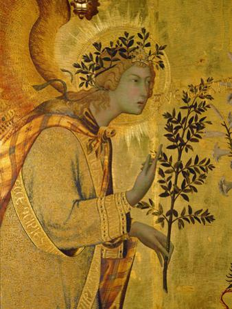 Annunciation, Detail of Gabriel by Simone Martini