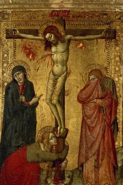 Christ on the Cross with Mary, John and Magdalena by Simone Martini