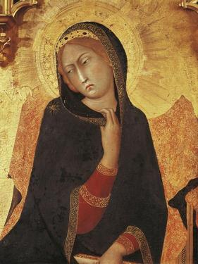 Figure of Mary, Detail of the Annunciation with St Ansano and St Massima, 1333 by Simone Martini