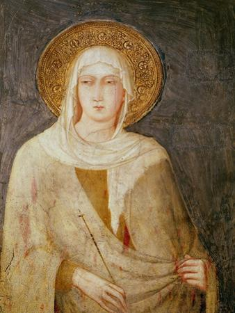 Five Saints, Detail of St. Clare by Simone Martini