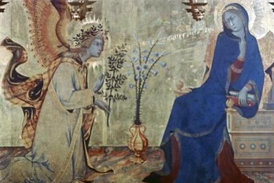 The Annunciation and Two Saints, (Detail), 1333