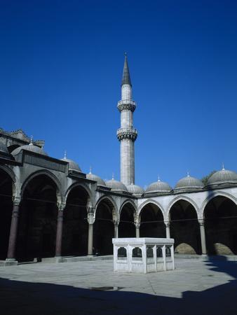 Turkey. Istanbul. Suleymaniye Mosque. Ottoman Style. 16th Century. Courtyard and Ablution Fountain