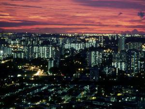 Singapore Sunset Over City