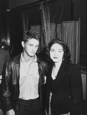 Singer Madonna and Husband Sean Penn Posing at Tyson-Spinks Fight