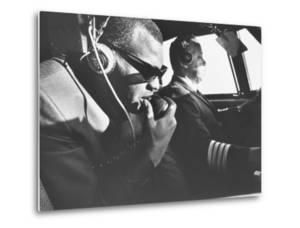 Singer Ray Charles Wearing Earphones While in His Private Plane