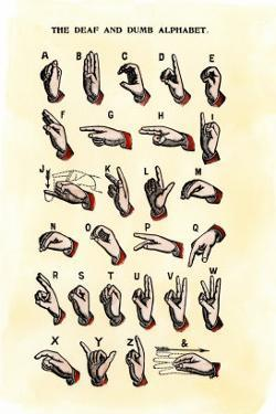 Single-Handed Alphabet in Sign Language, Used in the Us, 1800s