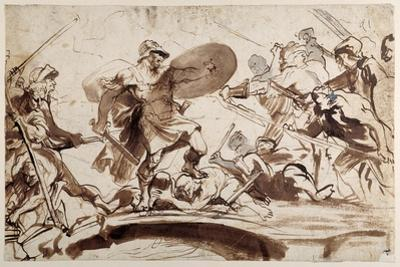 Horatius Cocles Defending the Tiber Bridge (Pen and Ink with Wash on Paper) by Sir Anthony Van Dyck