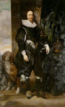 Portrait of King Charles I Wearing the Order of the Garter, with a Dog by His Side by Sir Anthony Van Dyck