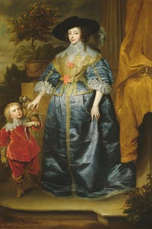Queen Henrietta Maria and Her Dwarf Sir Jeffrey Hudson, circa 1633