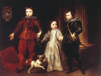 Three Children with Dog
