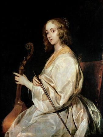 Young Woman Playing a Viola Da Gamba