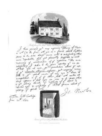 A Letter from Isaac Newton, and a View of His Birthplace at Woolsthorpe, Lincolnshire, 1682