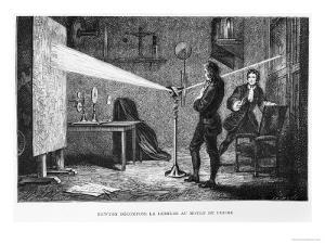 Sir Isaac Newton Breaking up the Light Through a Prism