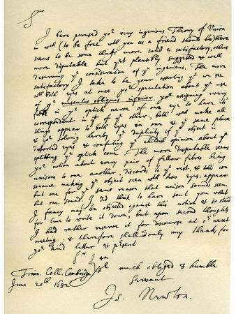 Letter from Sir Issac Newton to William Briggs, 20th June 1682