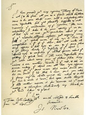 Letter from Sir Issac Newton to William Briggs, 20th June 1682 by Sir Isaac Newton