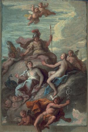 Juno, Minerva and Venus Dispatching Mercury with the Apple of Discord, C.1718