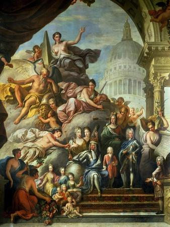 Rear Wall Painting of the Upper Hall Glorifying George I (1660-1727) and the House of Hanover,…