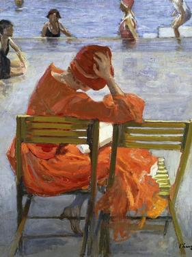 Girl in a Red Dress, Seated by a Swimming Pool, 1936 by Sir John Lavery