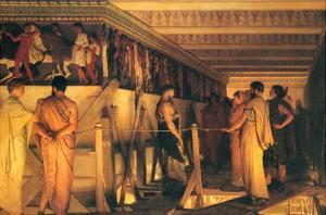 Phidias Showing the Frieze of the Parthenon to His Friends by Sir Lawrence Alma-Tadema